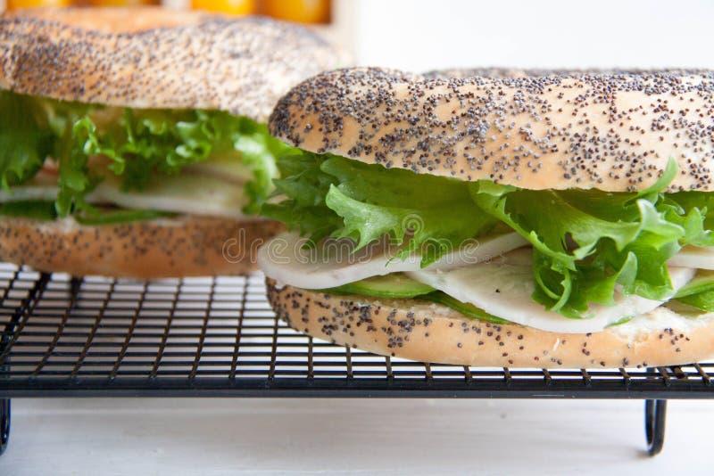 Bagel avec le petit pain de poulet, le fromage de salade et fondu vert photos libres de droits
