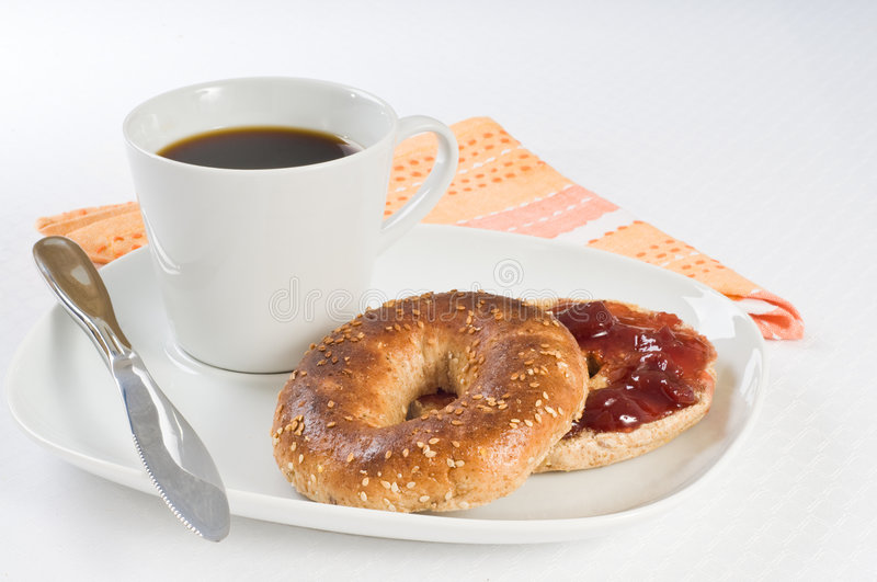 Bagel and Coffee stock image
