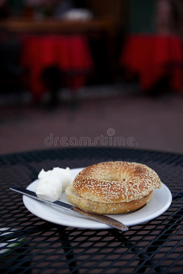 Bagel With Cream Cheese Royalty Free Stock Image