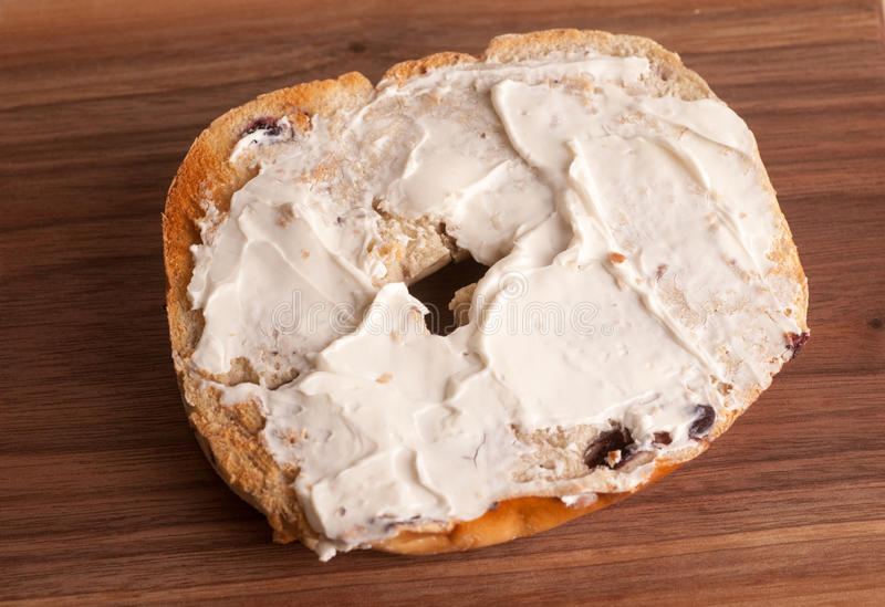Bagel with Cream Cheese royalty free stock photography