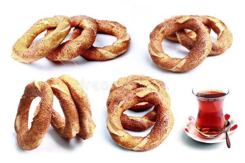 Bagel e tè freschi immagine stock libera da diritti
