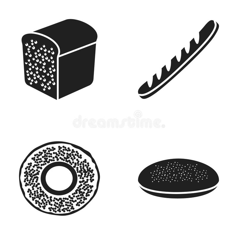 A bagel, half a loaf, a French loaf, a pie billet. Bread set collection icons in black style vector symbol stock royalty free illustration
