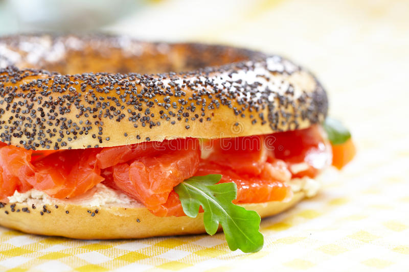 Bagel and lox. Smoked Salmon Sandwich with cream cheese on bagel stock photography