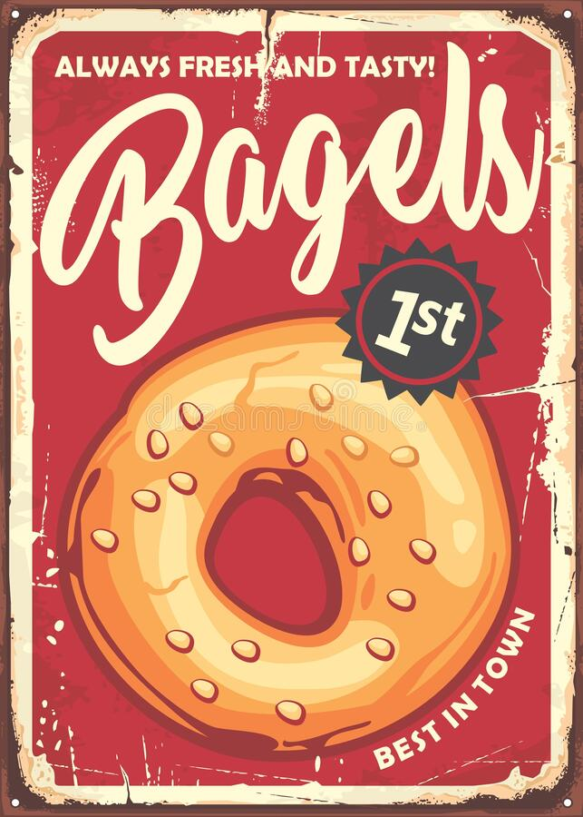 Free Bagel Poster In Retro Style Made For Bakeries And Pastries Stores. Stock Photography - 192887002