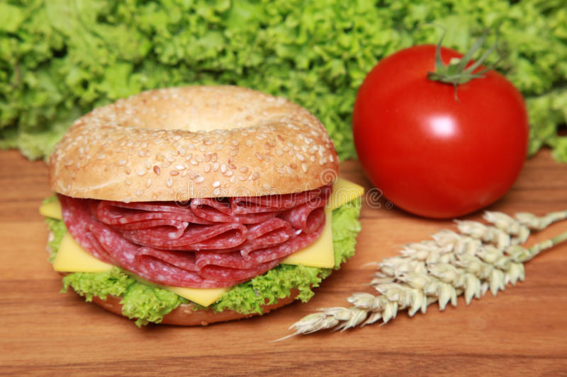 Download Bagel with Salami stock photo. Image of cereals, breakfast - 20834684