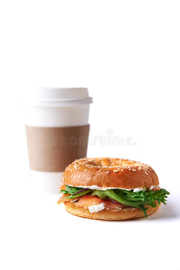 Bagel with salmon and cream cheese stock images