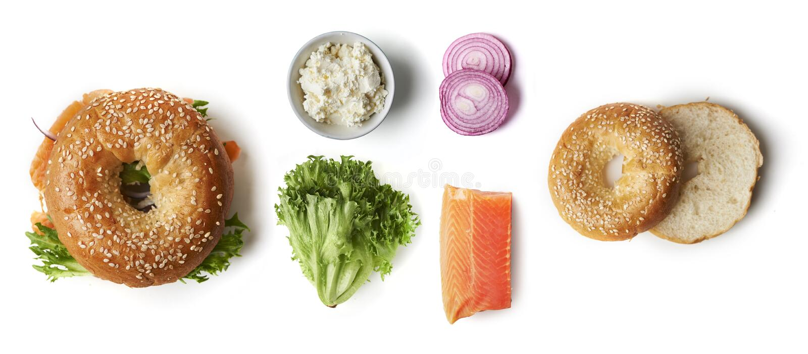 Bagel with salmon amd salad stock images