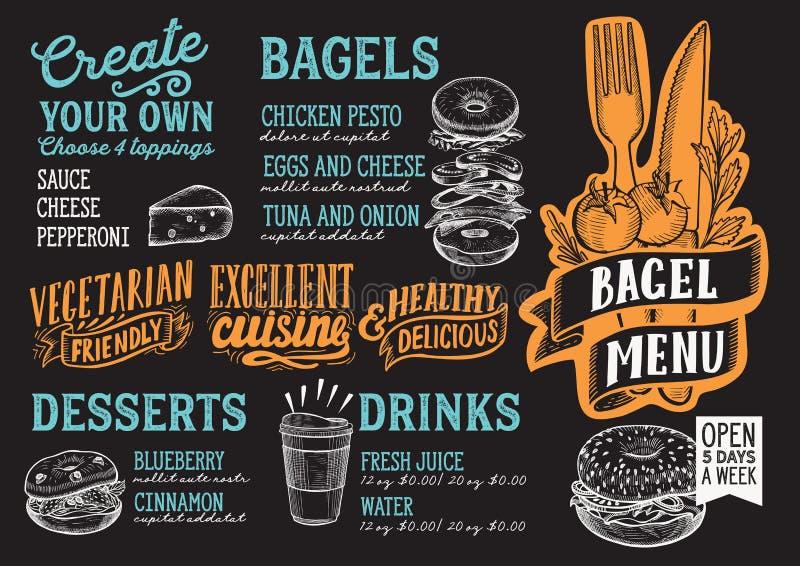 Bagel and sandwich menu food template for restaurant with doodle. Bagel and sandwich menu template for restaurant on a blackboard background vector illustration stock illustration