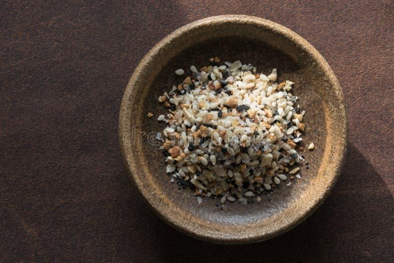 Bagel Seasoning in een Bowl royalty-vrije stock afbeelding