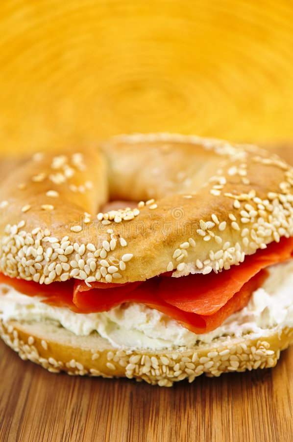 Bagel with smoked salmon and cream cheese royalty free stock photography
