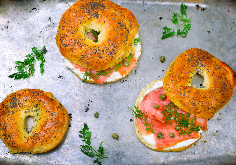 Bagel with a smoked salmon and cream cheese royalty free stock image