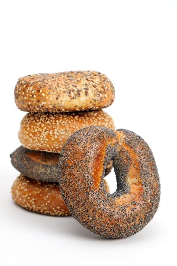 bagels ανασκόπησης απομόνωσαν τ στοκ εικόνα