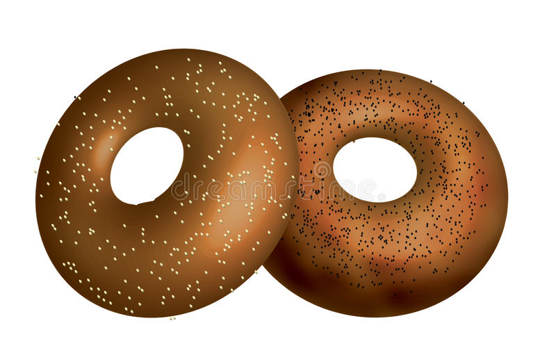 Download Bagels stock illustration. Image of bagels, snack, poppy - 16072361