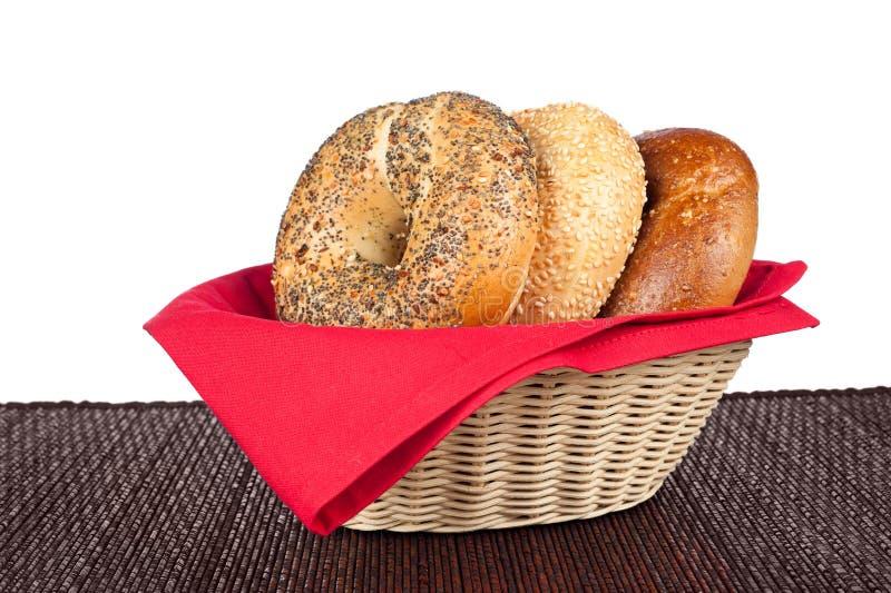 Download Bagels in basket stock photo. Image of food, napkin, snack - 25199122