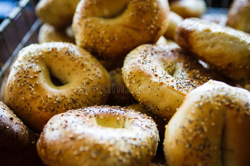 Bagels in cafe stock images
