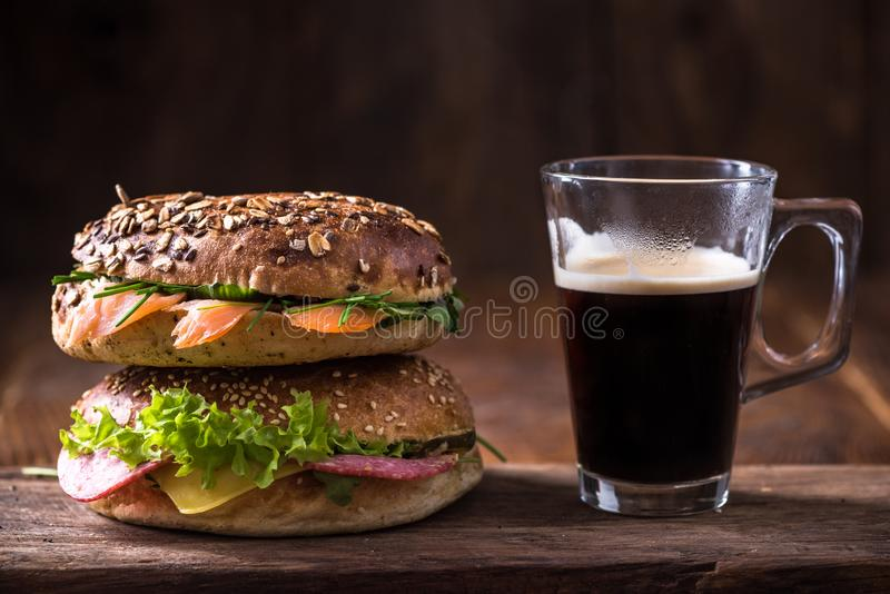 Bagels and coffee for breakfast royalty free stock image