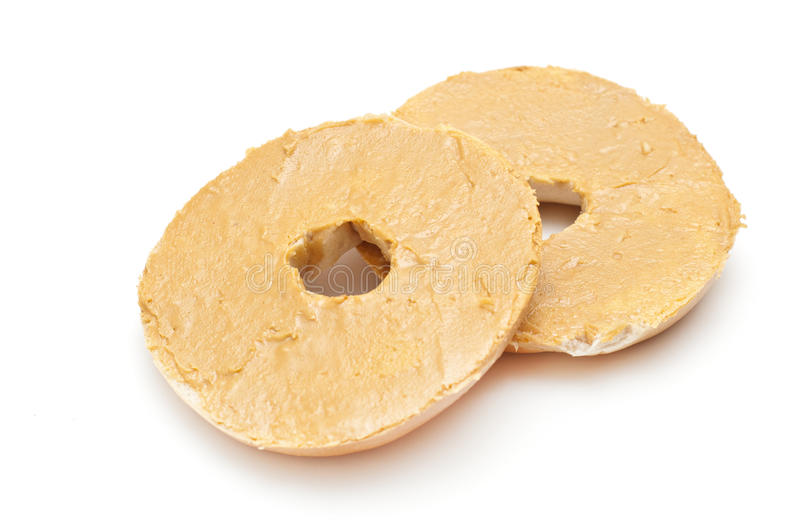 Bagels and peanut butter royalty free stock images