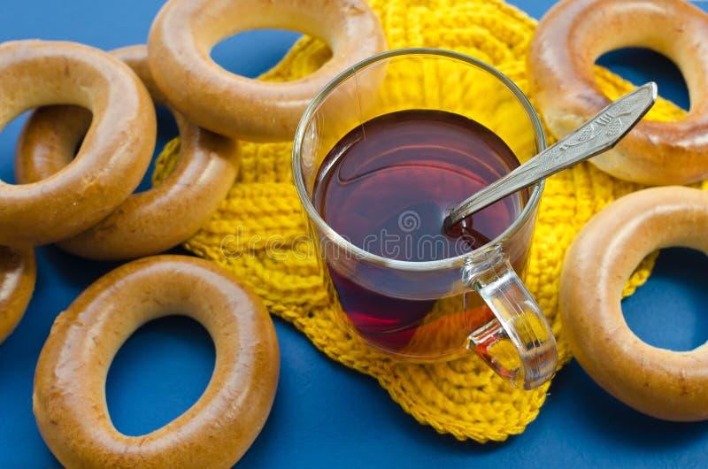 Bagels and tea stock photos
