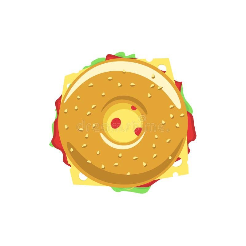 Bagelsandwich-Vektorlogo lizenzfreie abbildung