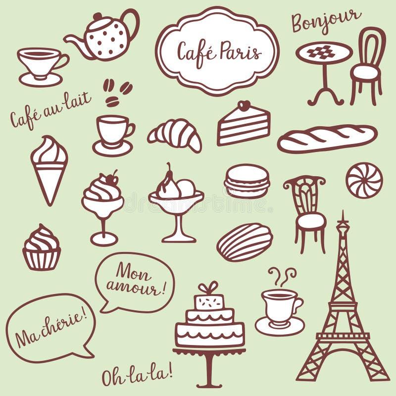 Bageri-, Coffe och Paris symboler stock illustrationer