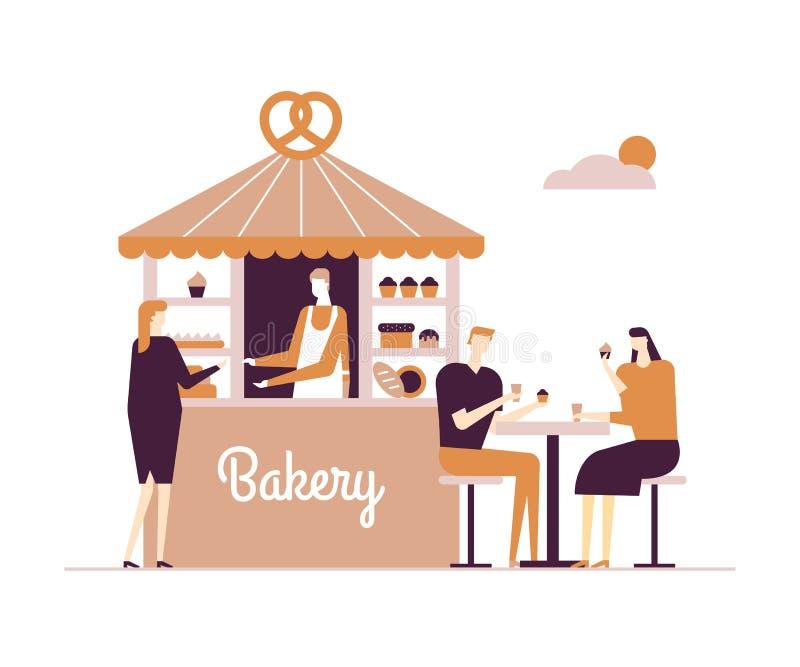 Bageri - för designstil för modern vektor plan illustration royaltyfri illustrationer