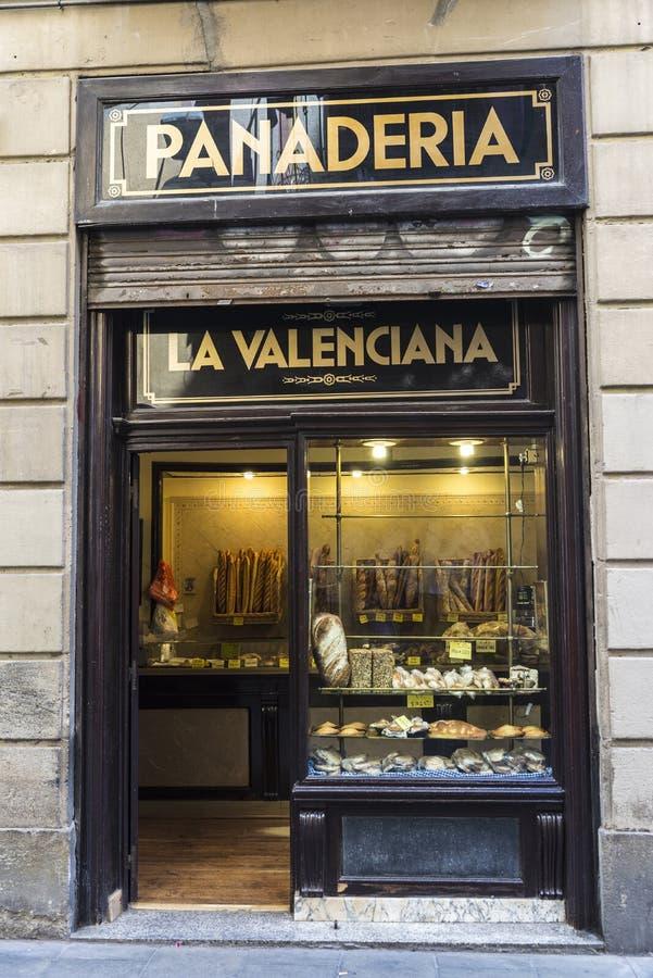 Bageri i den gamla staden av Barcelona royaltyfri fotografi