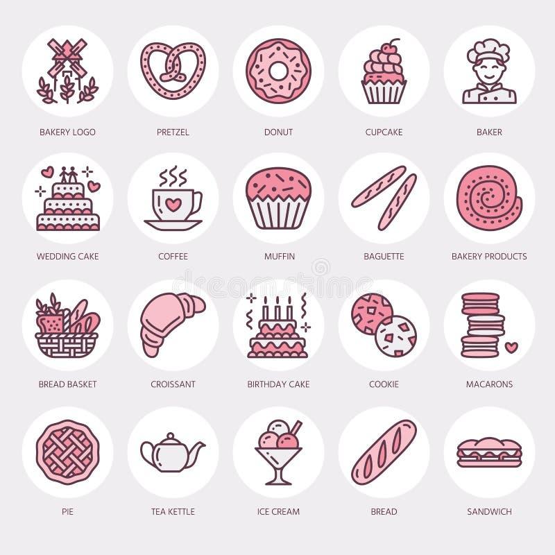 Bageri konfektlinje symboler Sötsaken shoppar produkten - kakan, gifflet, muffin, bakelse, muffin, linjär pajmat thin royaltyfri illustrationer