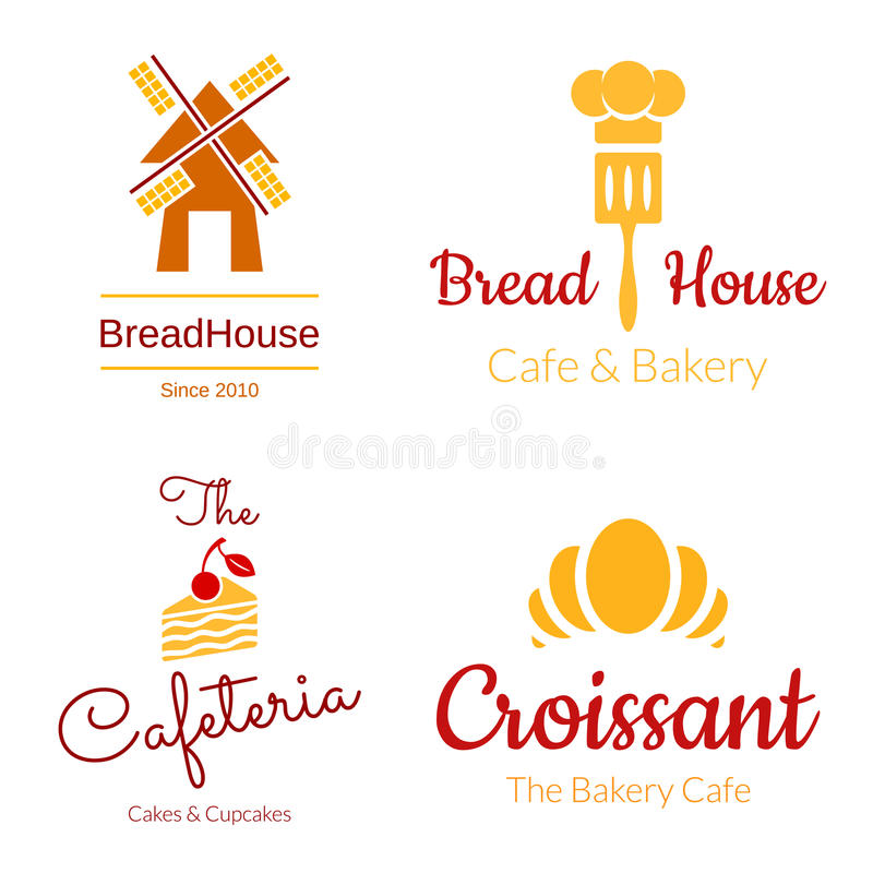 Bageri Logo Set royaltyfri illustrationer