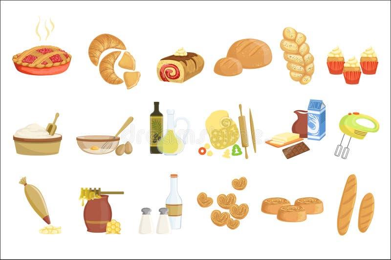 Bageri- och bakelseproduktsymboler ställer in med olika slag av bröd, söta bullar, muffin, deg, och kakor för bageri shoppar royaltyfri illustrationer