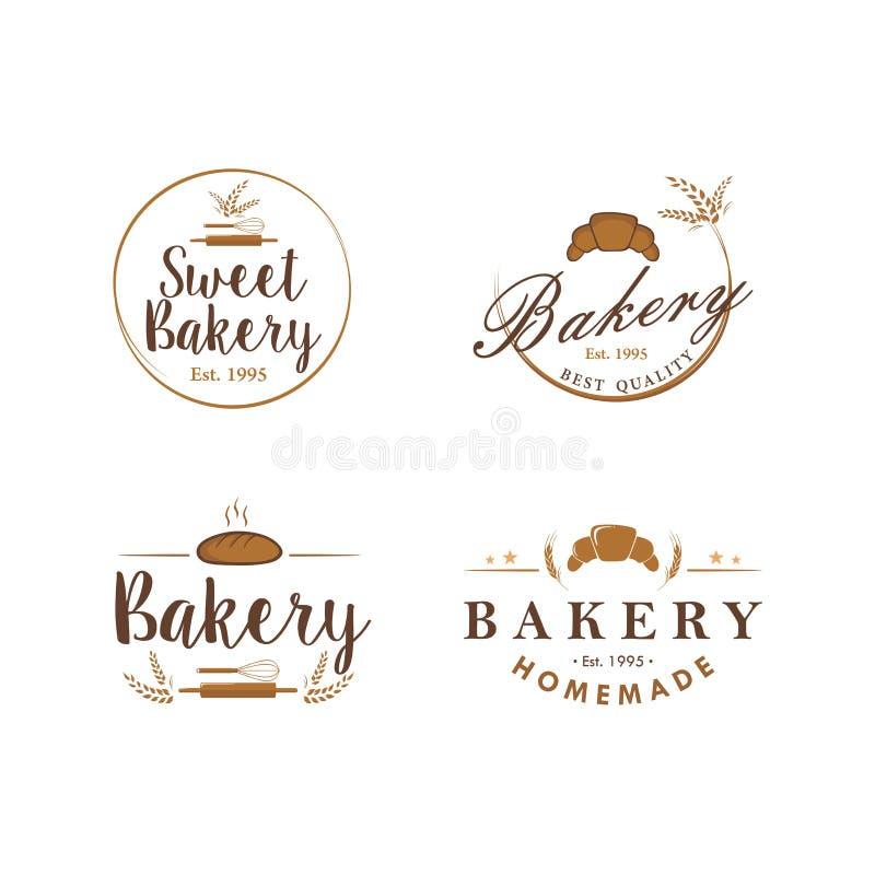 Bageri- och efterrättlogo, tecken, samling, emblem, plan vektordesignuppsättning royaltyfri illustrationer