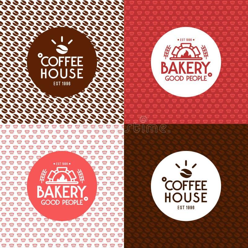 Bageri och modeller och etiketter för kafé sömlösa vektor illustrationer