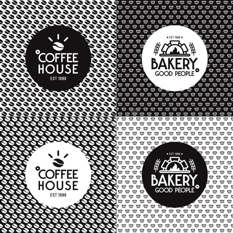 Bageri och modeller och etiketter för kafé sömlösa stock illustrationer