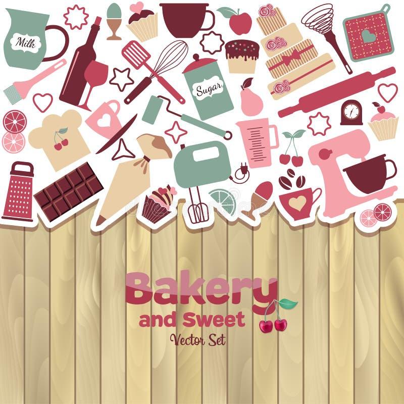 Bageri och söt abstrakt illustration royaltyfri illustrationer