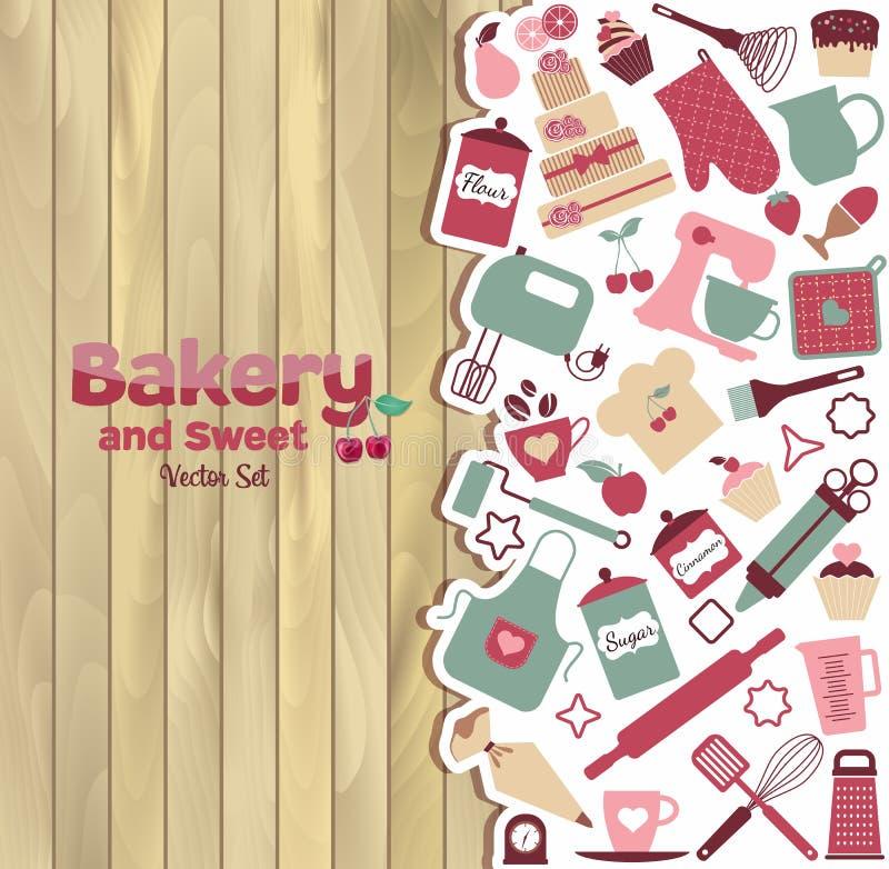 Bageri och söt abstrakt illustration på trä stock illustrationer