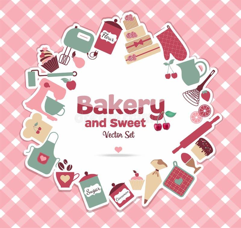 Bageri och sött vektor illustrationer