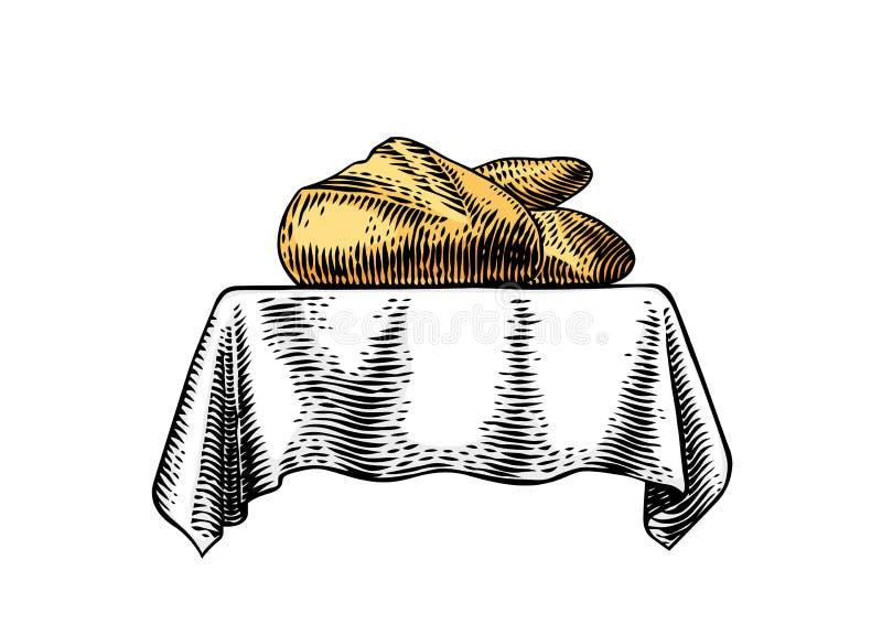 Bageri på bordduken stock illustrationer