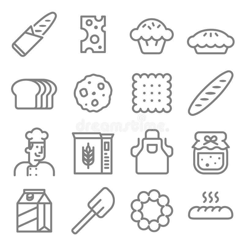 Bageribagarelinje symbolsuppsättning royaltyfri illustrationer