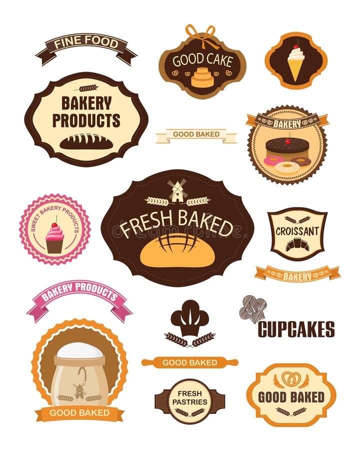Bageribakelse märker, emblem, band, kort och designbeståndsdelar royaltyfri illustrationer