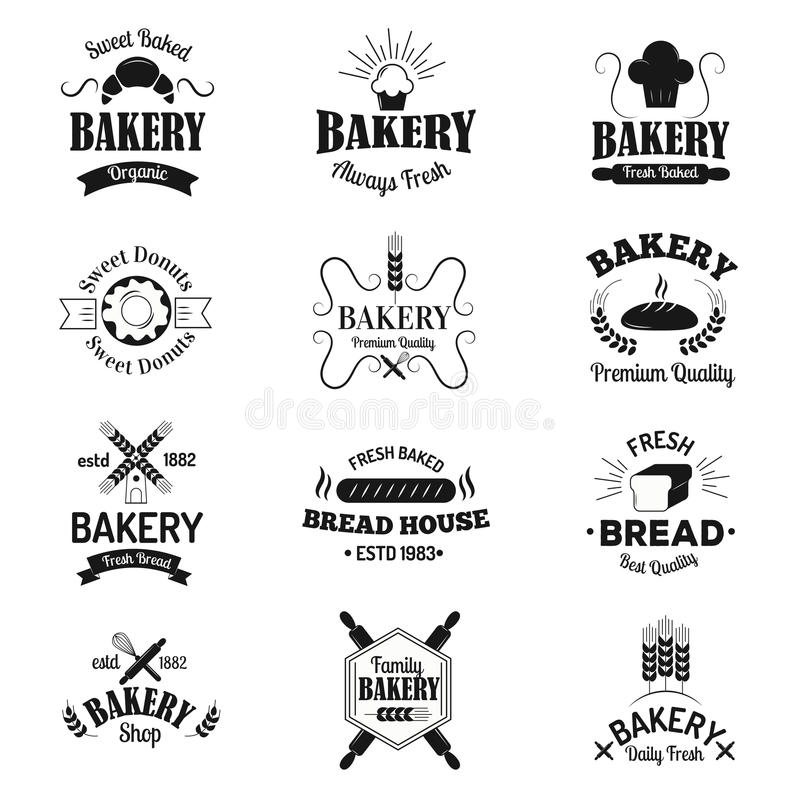 Bageriemblem och logosymboler gör den moderna uppsättningen för stilvektorsamlingen tunnare royaltyfri illustrationer