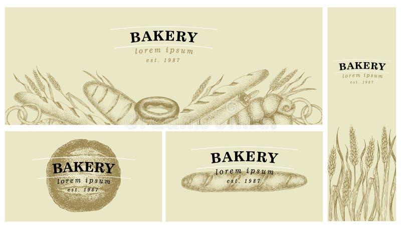 Bagerietiketter Tappningdiagram Bröd- och bakelsesamling också vektor för coreldrawillustration Vara kan bruk för meny som förpac vektor illustrationer