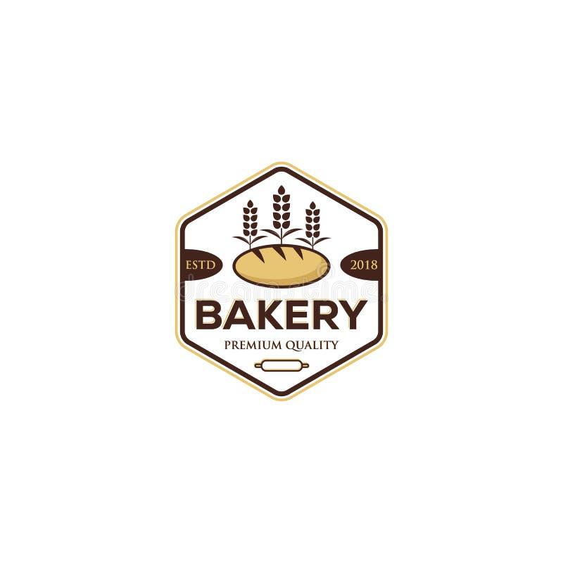 Bagerilogodesign, högvärdig kvalitet, tappningstil royaltyfri illustrationer