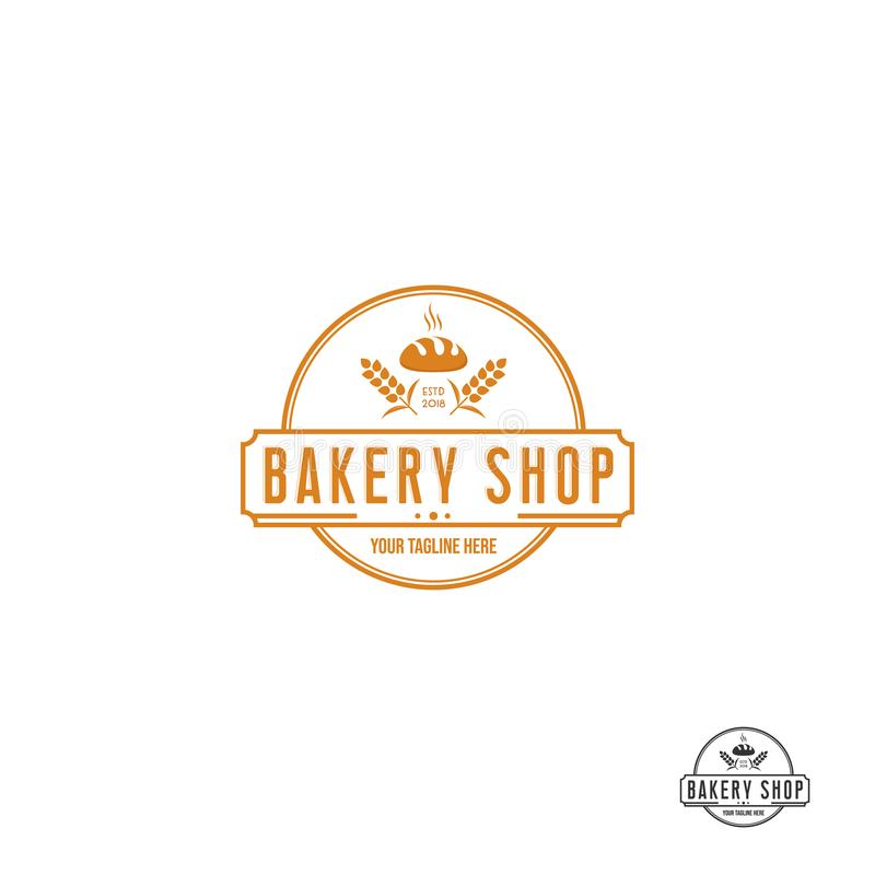 Bagerilogodesigner, modern logotyp royaltyfri illustrationer