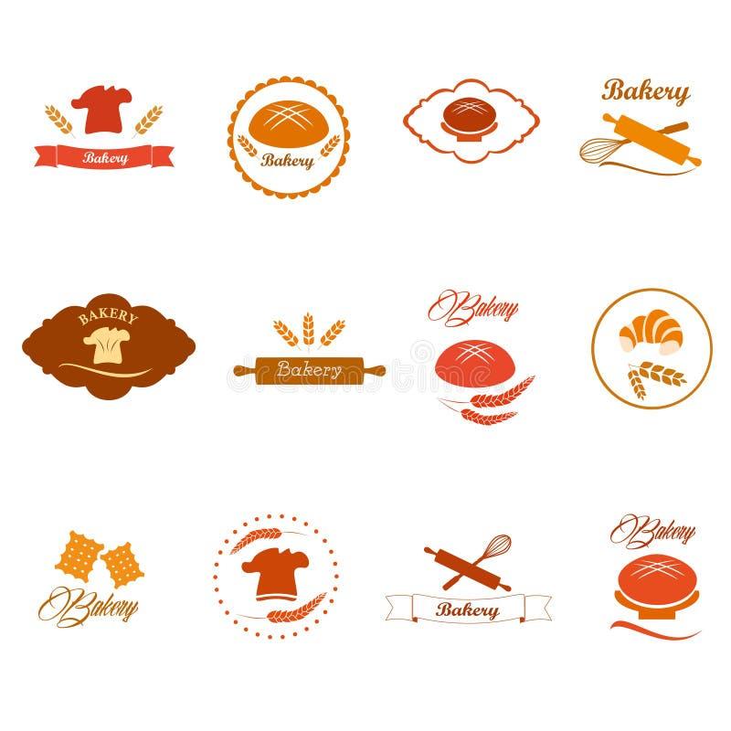 Bagerilogoen förser med märke och etiketter, symboler royaltyfri illustrationer