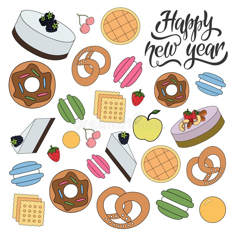Bagerimodell för lyckligt nytt år stock illustrationer