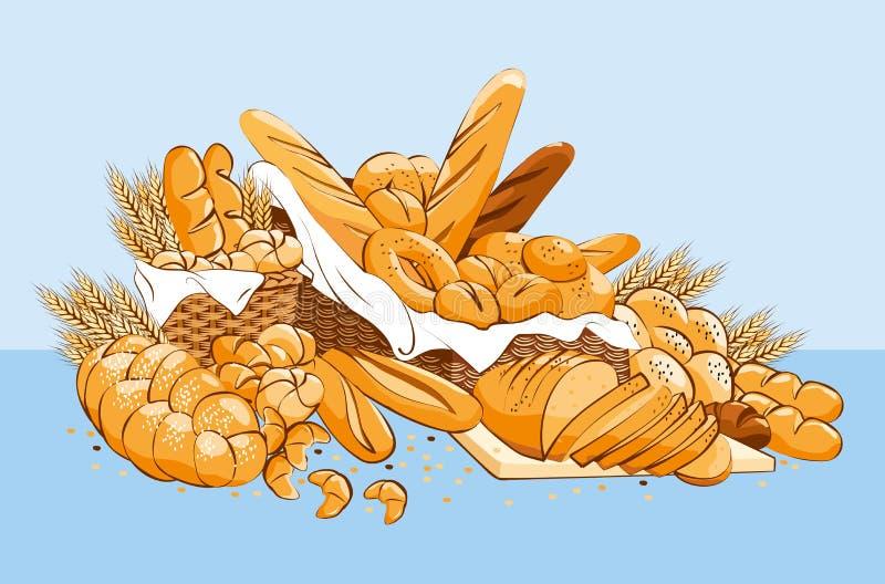 Bageriprodukter med vide- korgar royaltyfri illustrationer