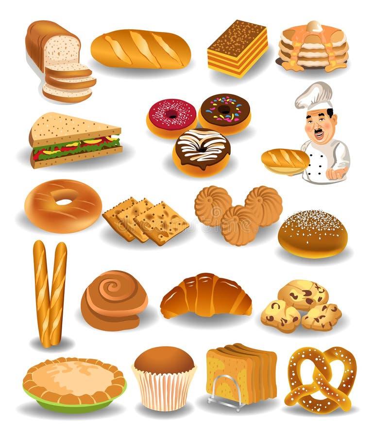 Bageriprodukter samling, bröd, kakor, paj stock illustrationer