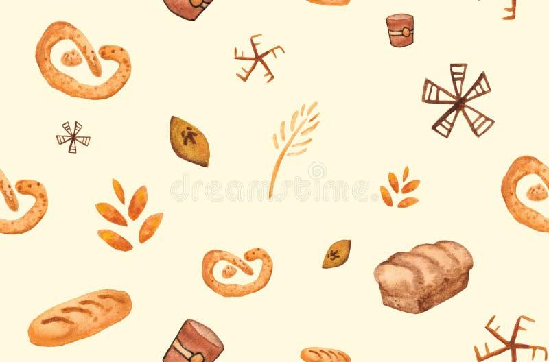 Bageriprodukter som bakar trycket S?ml?s modell f?r bakelse Gullig kökbakgrund royaltyfri illustrationer