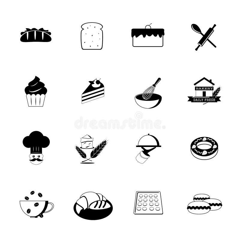 Bagerisymboler, svart, vektor vektor illustrationer