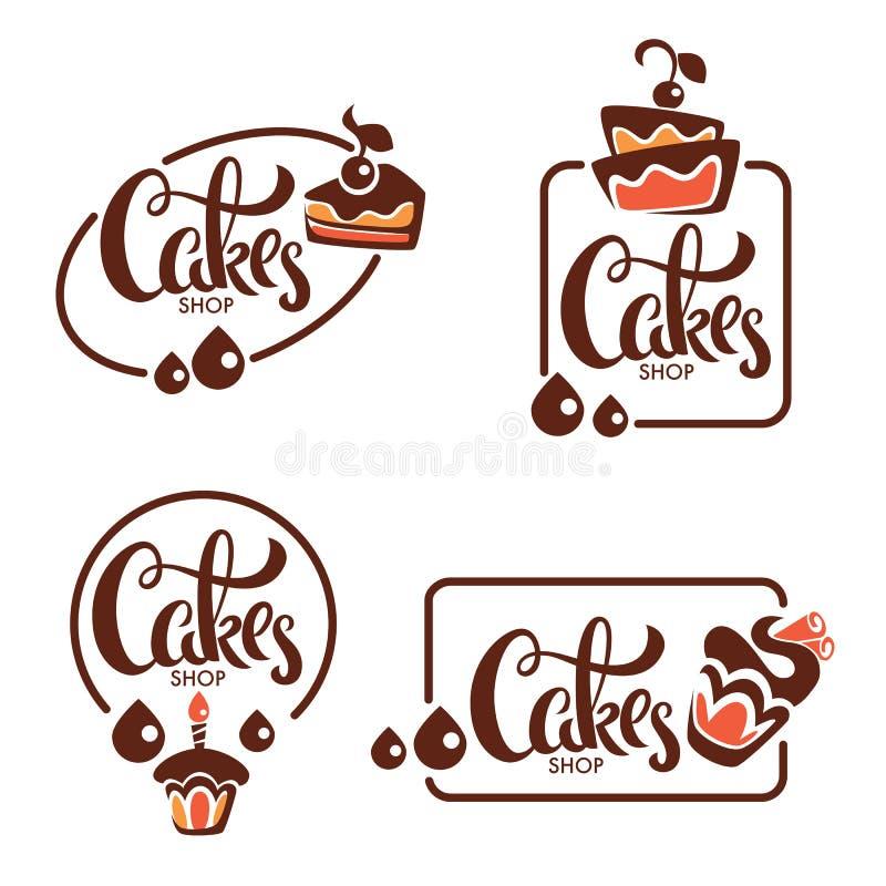 Bagerit bakelse, konfekt, kakan, efterrätten, sötsaker shoppar, vectoen vektor illustrationer
