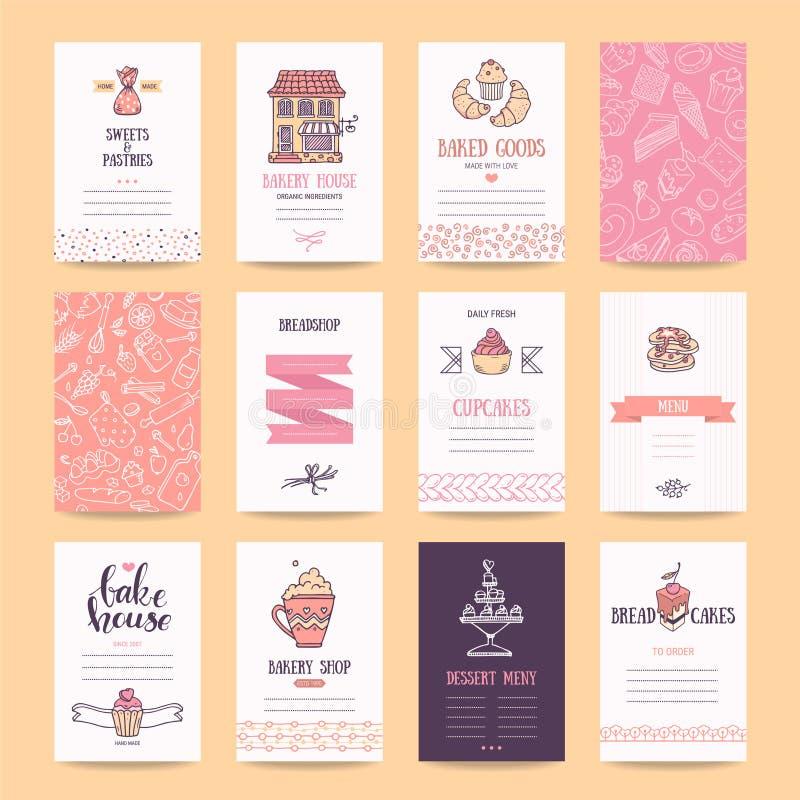 Bagerit och bakelse shoppar affärskort, menydesign royaltyfri illustrationer